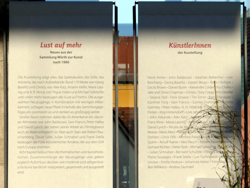 """Schwäbisch Hall, Kunsthalle Würth, Ausstellung """"Lust auf mehr"""" vom 30.9.2019 - 20.9.2020, Bild 2/2"""