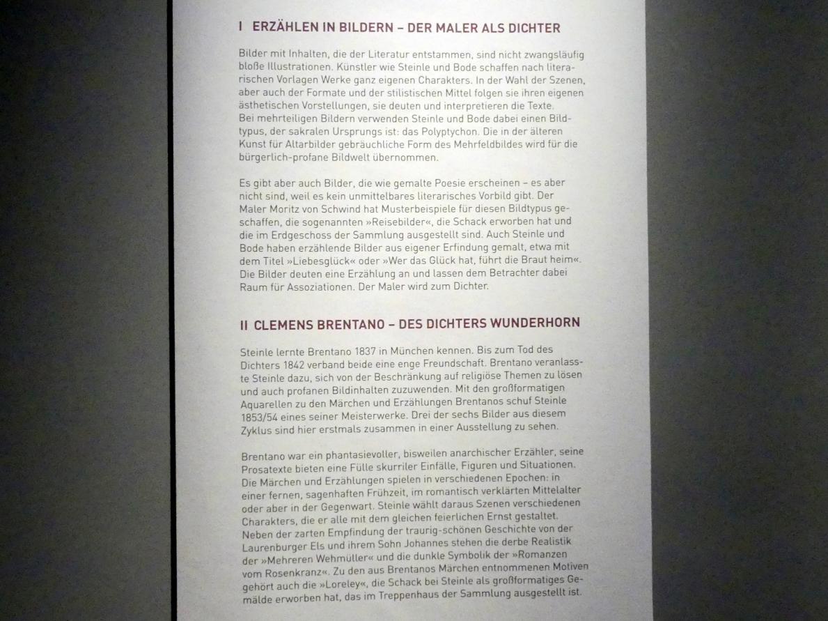 """München, Sammlung Schack, Ausstellung """"Erzählen in Bildern"""" vom 22.11.2018-10.03.2019, Saal 18, Bild 2/2"""