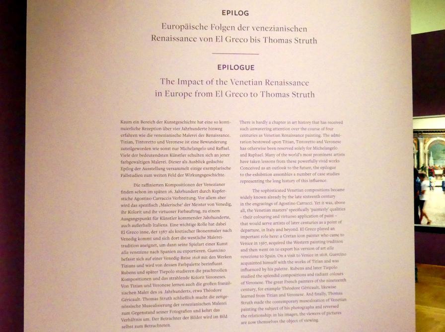 """Frankfurt, Städel, Ausstellung """"Tizian und die Renaissance in Venedig"""" vom 13.2. - 26.5.2019, Teil 2, Raum 4, Bild 3/3"""