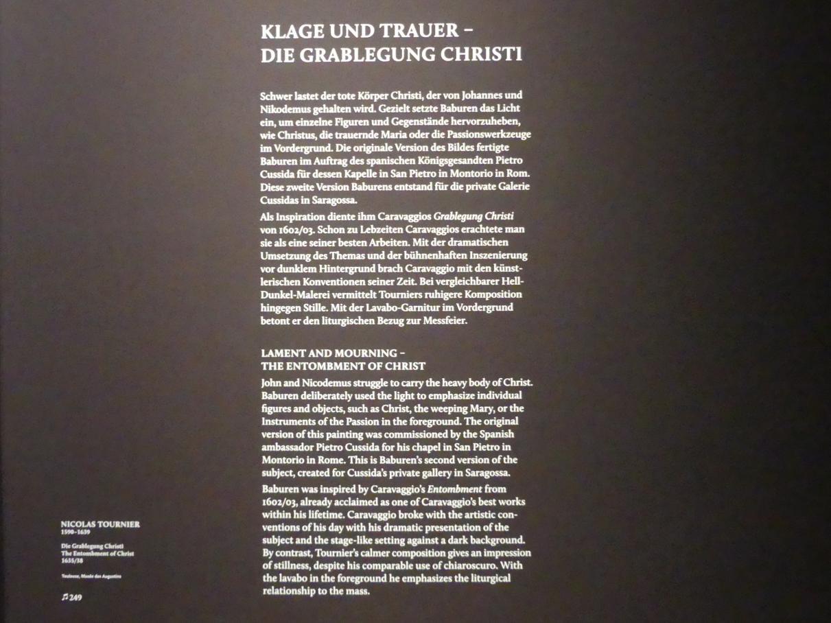 """München, Alte Pinakothek, Ausstellung """"Utrecht, Caravaggio und Europa"""" vom 17.4.-21.7.2019, Christus: Grablegung Christi"""