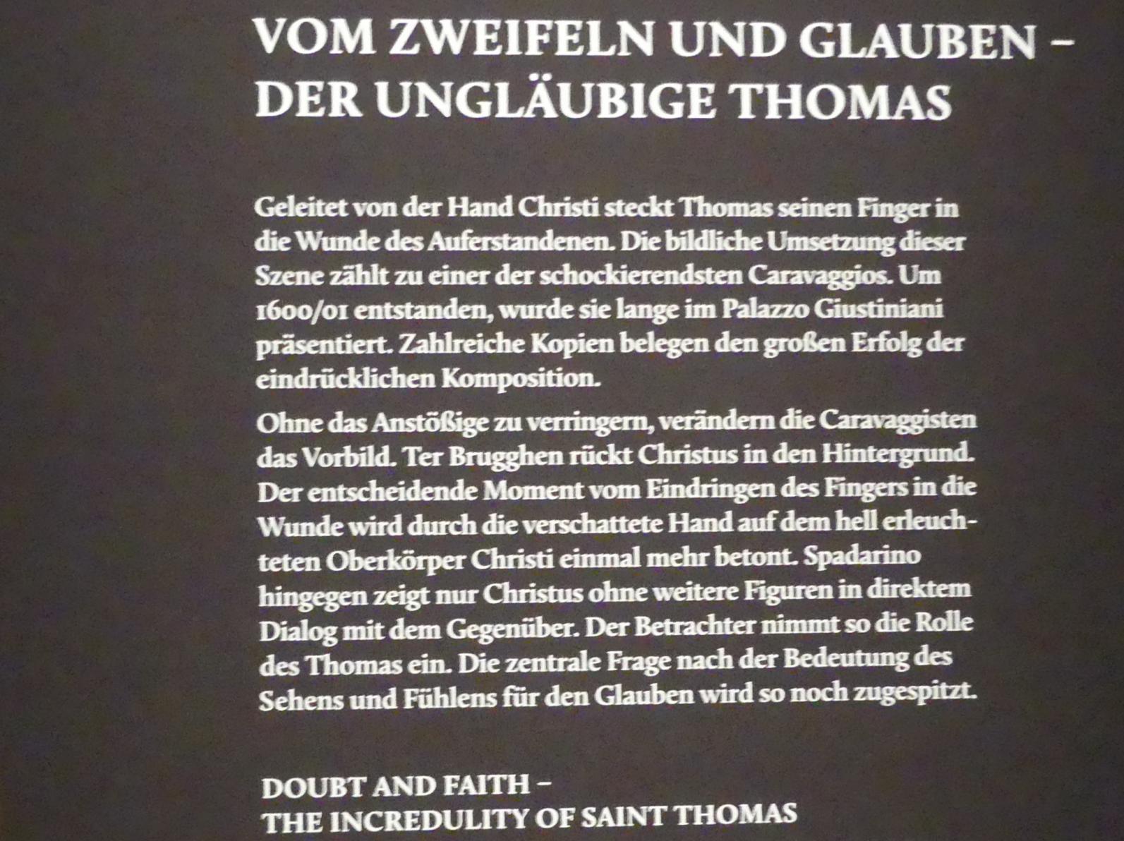 """München, Alte Pinakothek, Ausstellung """"Utrecht, Caravaggio und Europa"""" vom 17.4.-21.7.2019, Christus: Ungläubiger Thomas"""