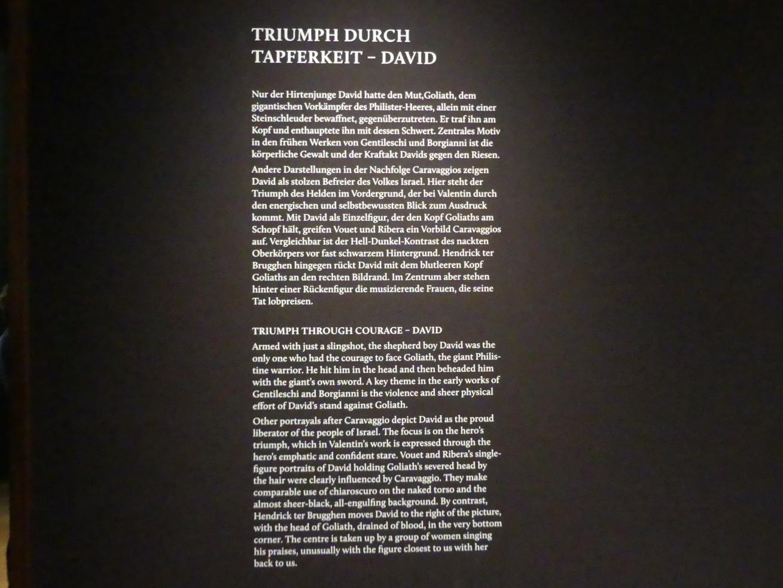 """München, Alte Pinakothek, Ausstellung """"Utrecht, Caravaggio und Europa"""" vom 17.4.-21.7.2019, Helden: David und Goliath"""
