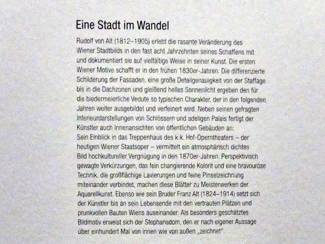 """Wien, Albertina, Ausstellung """"Rudolf von Alt und seine Zeit"""" vom 16.2.-10.6.2019, Eine Stadt im Wandel, Bild 2/3"""