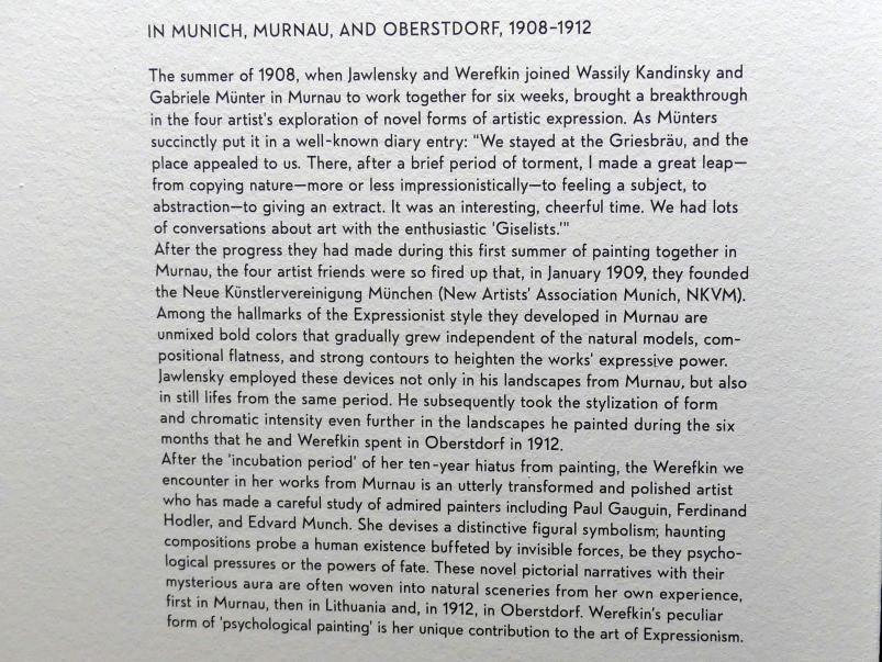 """München, Lenbachhaus, Kunstbau, Ausstellung """"Lebensmenschen"""" vom 22.10.2019-16.2.2020, München, Murnau, Oberstdorf, 1908-1913, Bild 8/17"""