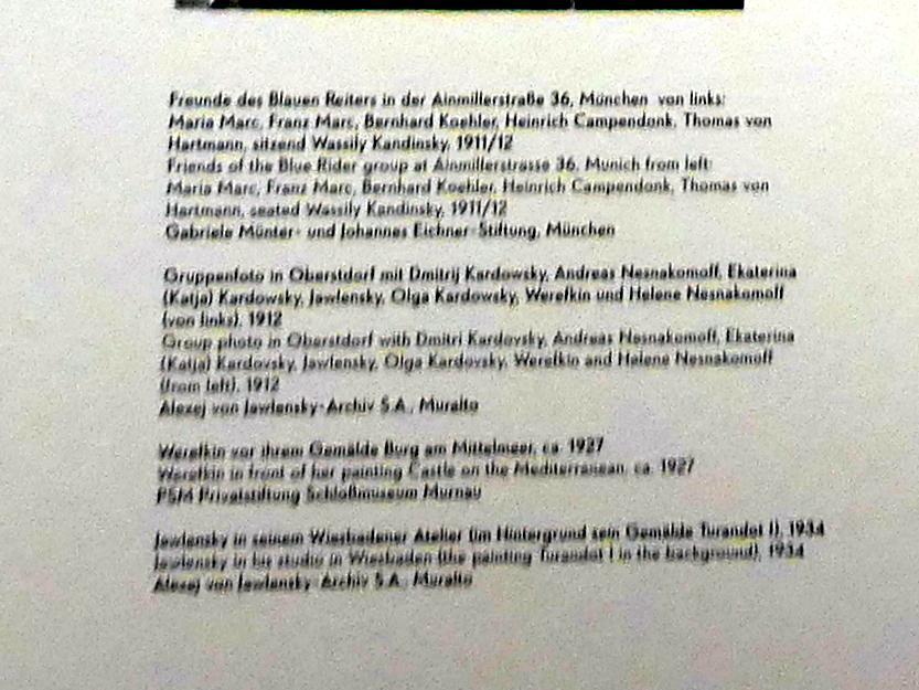 """München, Lenbachhaus, Kunstbau, Ausstellung """"Lebensmenschen"""" vom 22.10.2019-16.2.2020, München, Murnau, Oberstdorf, 1908-1913, Bild 14/17"""