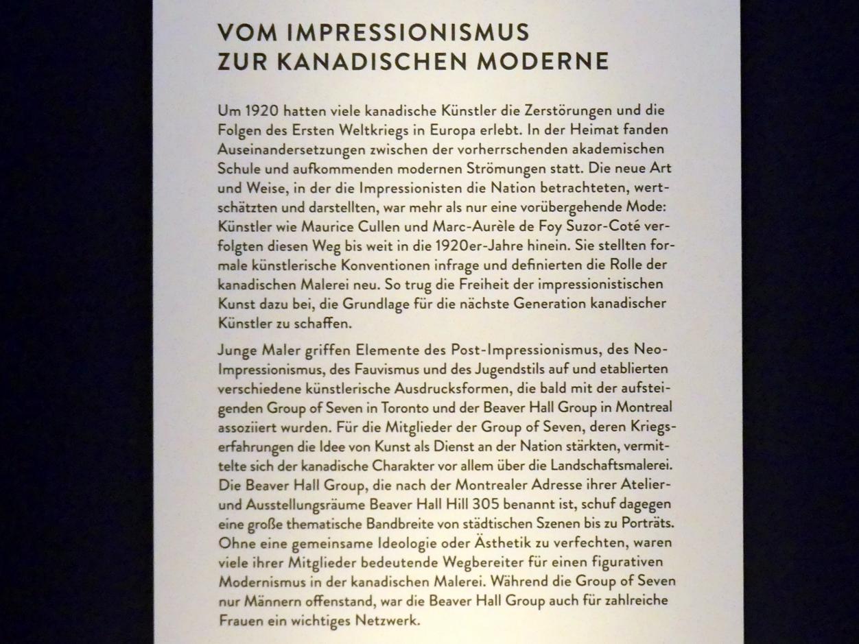 """München, Kunsthalle, Ausstellung """"Kanada und der Impressionismus"""" vom 19.7.-17.11.2019, Vom Impressionismus zur kanadischen Moderne, Bild 5/12"""