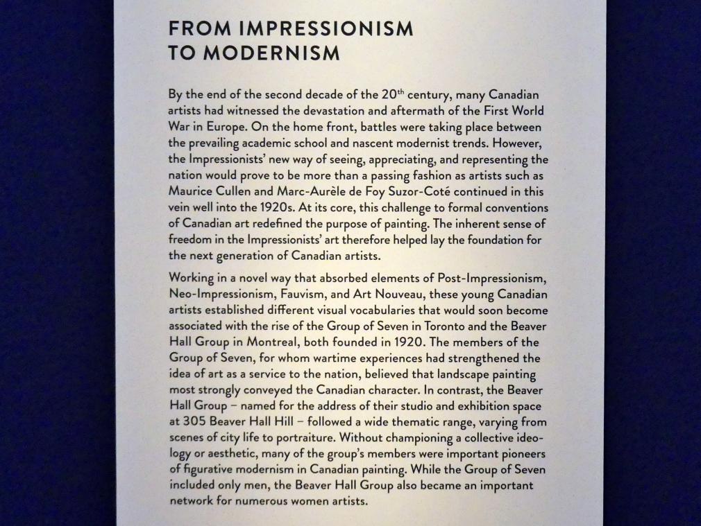 """München, Kunsthalle, Ausstellung """"Kanada und der Impressionismus"""" vom 19.7.-17.11.2019, Vom Impressionismus zur kanadischen Moderne, Bild 6/12"""