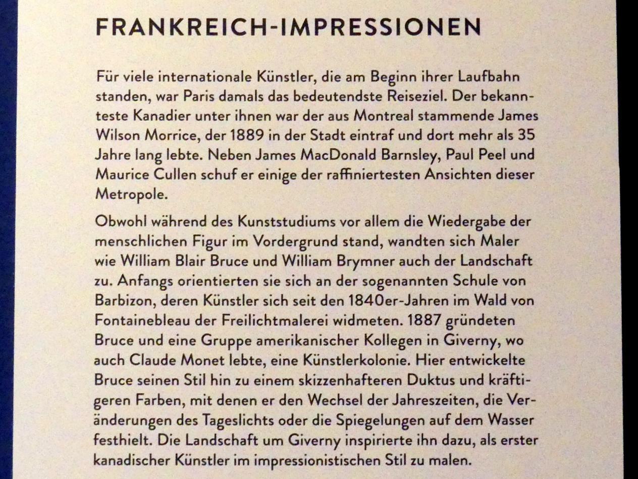 """München, Kunsthalle, Ausstellung """"Kanada und der Impressionismus"""" vom 19.7.-17.11.2019, Frankreich-Impressionen, Bild 3/6"""