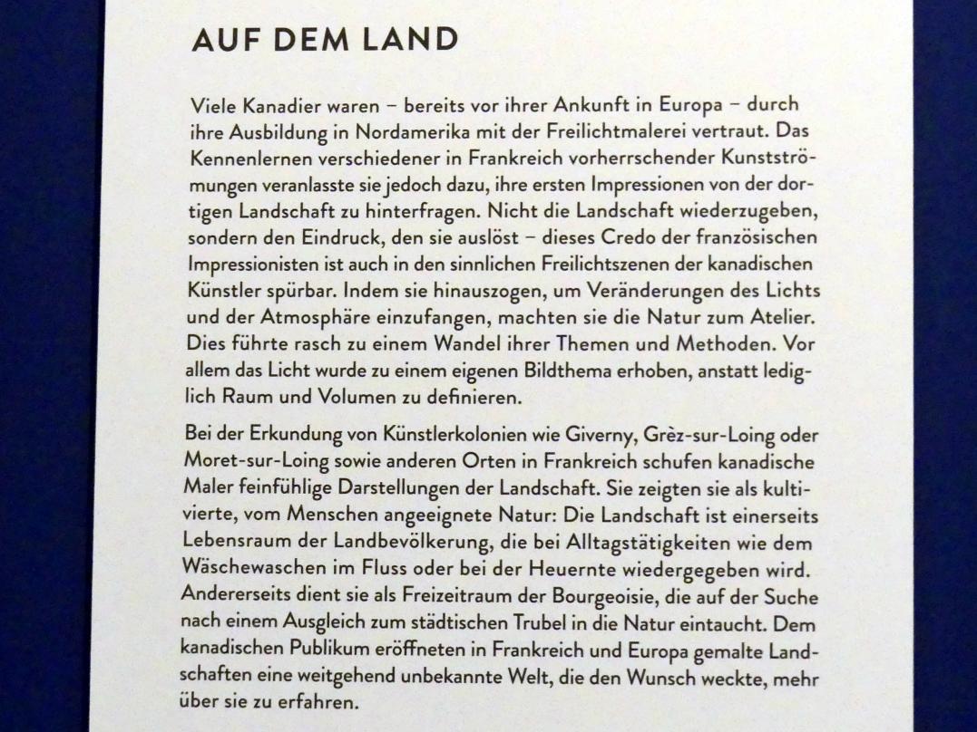 """München, Kunsthalle, Ausstellung """"Kanada und der Impressionismus"""" vom 19.7.-17.11.2019, Auf dem Land, Bild 5/6"""