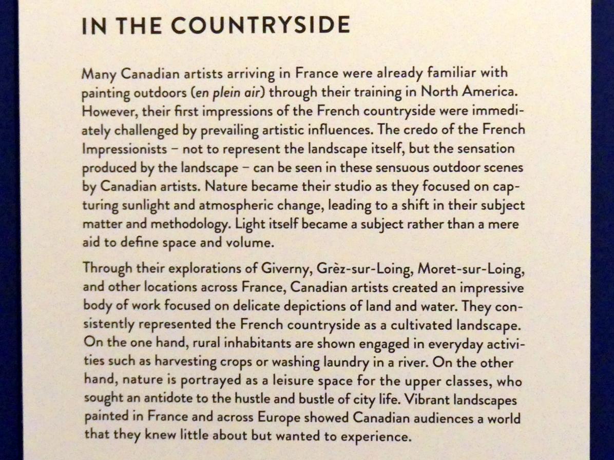"""München, Kunsthalle, Ausstellung """"Kanada und der Impressionismus"""" vom 19.7.-17.11.2019, Auf dem Land, Bild 6/6"""