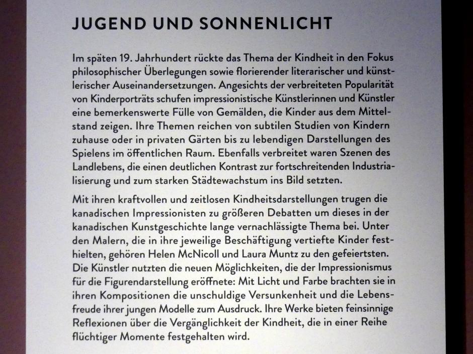 """München, Kunsthalle, Ausstellung """"Kanada und der Impressionismus"""" vom 19.7.-17.11.2019, Jugend und Sonnenlicht, Bild 3/5"""