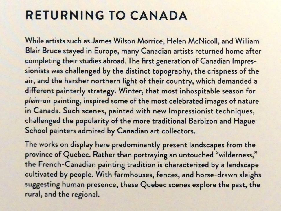 """München, Kunsthalle, Ausstellung """"Kanada und der Impressionismus"""" vom 19.7.-17.11.2019, Rückkehr nach Kanada, Bild 4/5"""