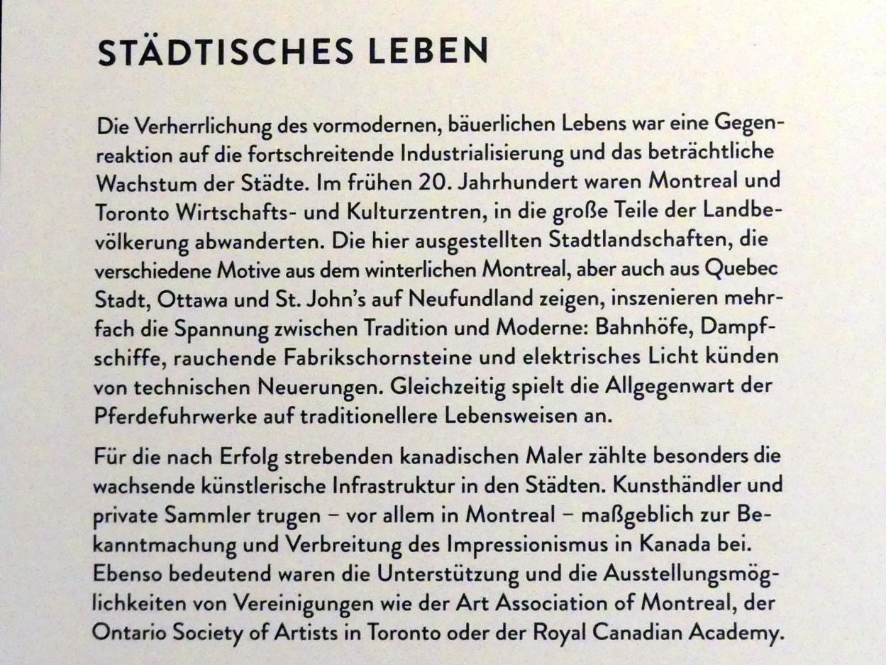 """München, Kunsthalle, Ausstellung """"Kanada und der Impressionismus"""" vom 19.7.-17.11.2019, Städtisches Leben, Bild 5/6"""