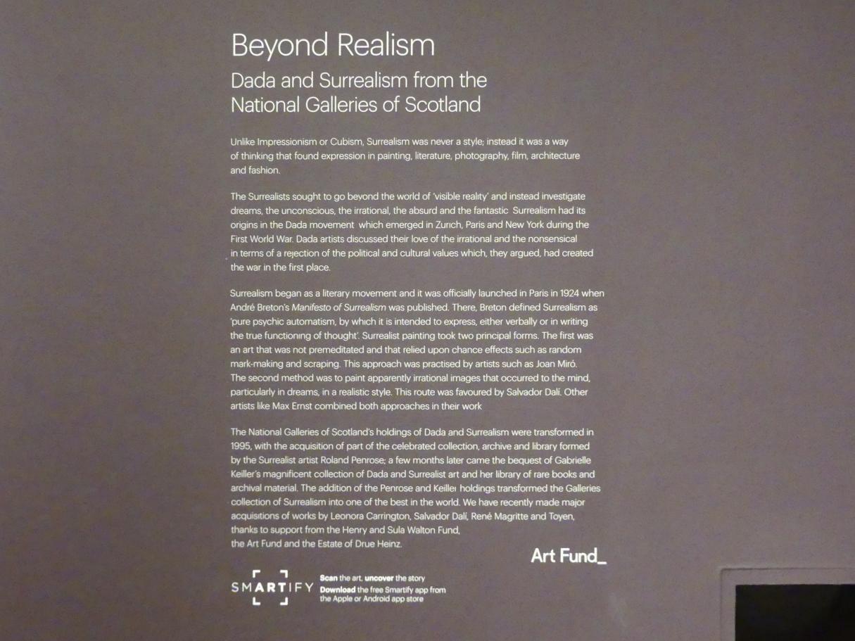 Edinburgh, Scottish National Gallery of Modern Art, Gebäude One, Saal 20: jenseits des Realismus - Dada und Surrealismus, Bild 3/4