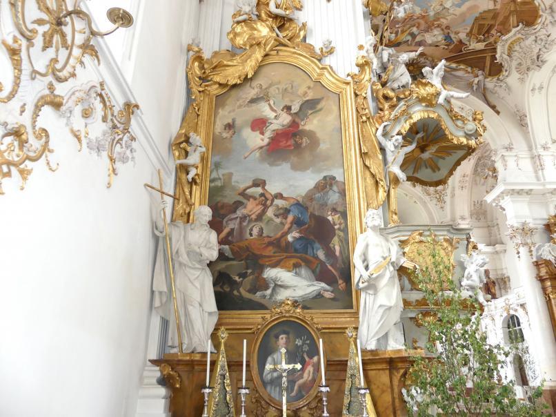 Johann Baptist Straub: Sebastian-Seitenaltar und Stephanus-Seitenaltar, 1738 - 1740