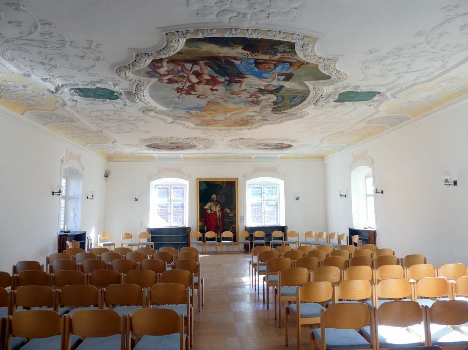 Dominikus Zimmermann: Bibliothek, Fensterlaibungen und -bekrönungen, Rahmenzone der Decke, 1710