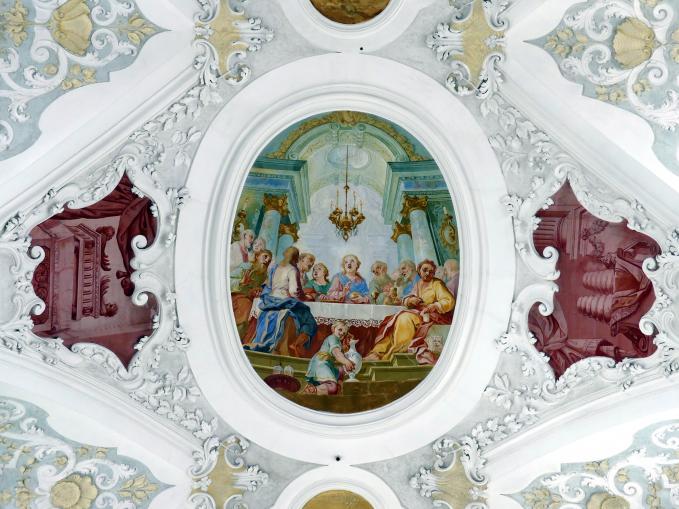 Johann Baptist Zimmermann: Fresken unter der Orgelempore und im Chor der Laienschwestern, 1722