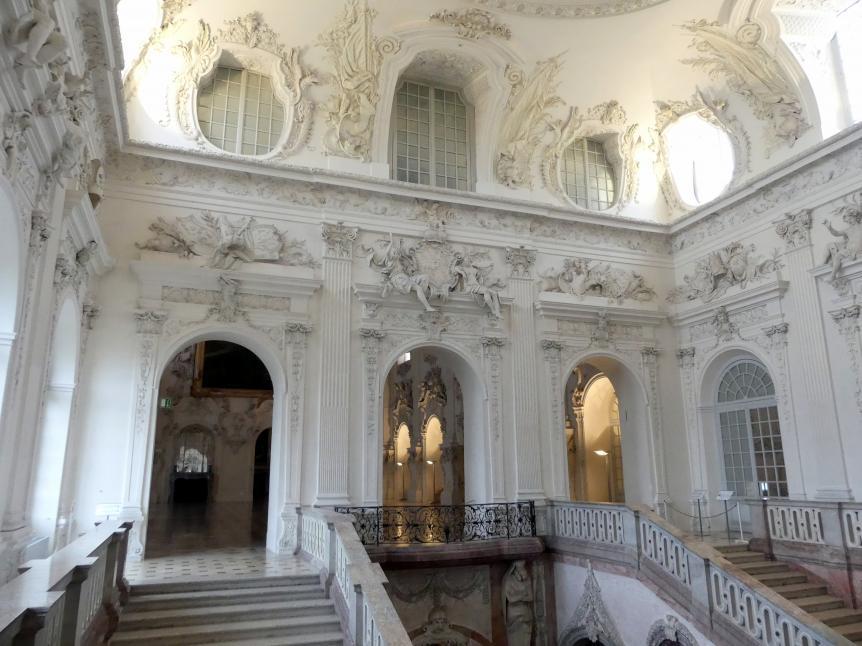 Johann Baptist Zimmermann: Stuck und Stuckfiguren im Treppenhaus (Decke und Wände), 1720 - 1721