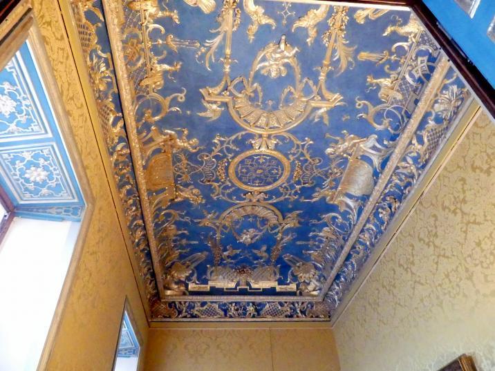 Johann Baptist Zimmermann: Stuck, versilbert und vergoldet auf blauem Grund, Blaues Kabinett (Kabinett im südlichen Appartment des Erdgeschosses), Decke, 1725 - 1726
