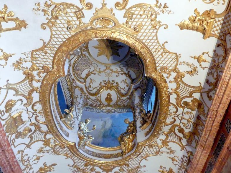 Johann Baptist Zimmermann: Stuck und Stuckfiguren, Kammerkapelle im Appartment der Kurfürstin im 1. Geschoß, Decke, Laternenaufbau mit durchlichteten Arkaden, 1725 - 1726