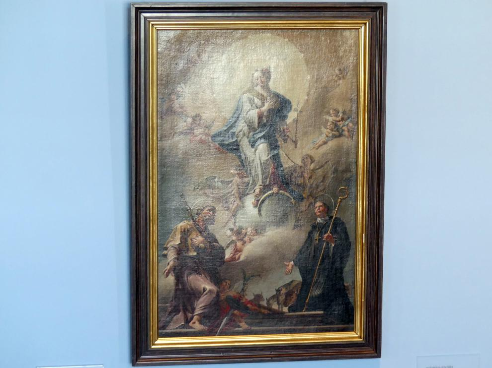 Matthäus Günther: Ölskizze Maria Immaculata mit den Hll. Jakobus Major und Leonhard, 1776