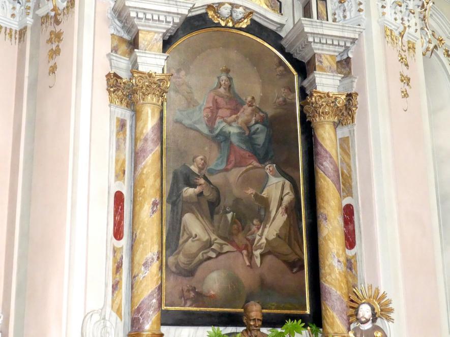 Matthäus Günther: Nördliches Seitenaltarblatt Maria als Königin des Rosenkranzes mit den Hll. Dominikus und Katharina von Siena, 1776