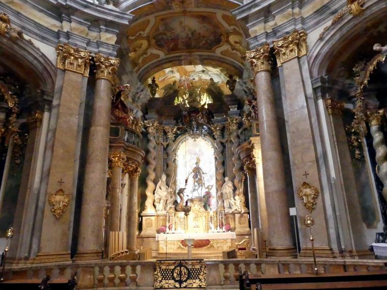 Egid Quirin Asam: Reiterstatue St. Georg mit Drache und Königstochter im Hochaltar, 1721 - 1735