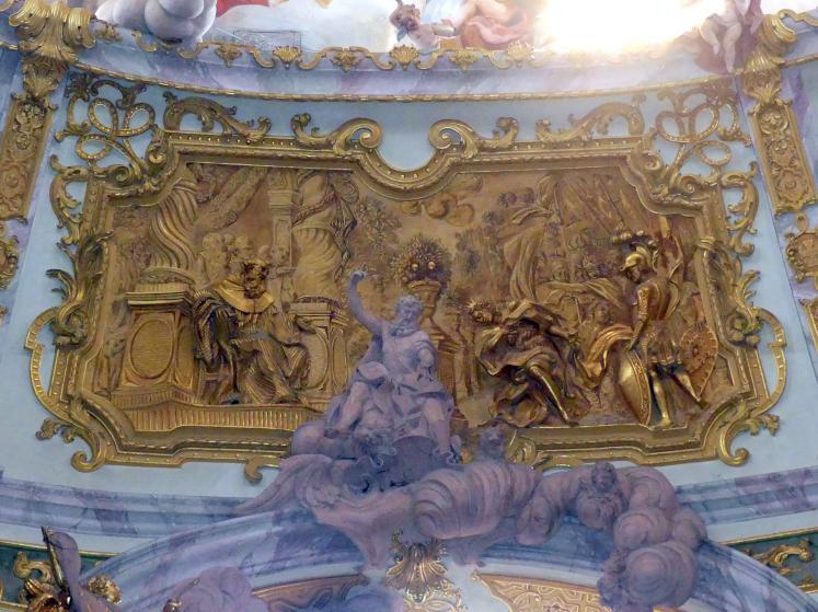 Egid Quirin Asam: Relief an der Nordseite der Kuppelschale Gotenkönig Totila vor St. Benedikt; Evangelist Matthäus, 1720
