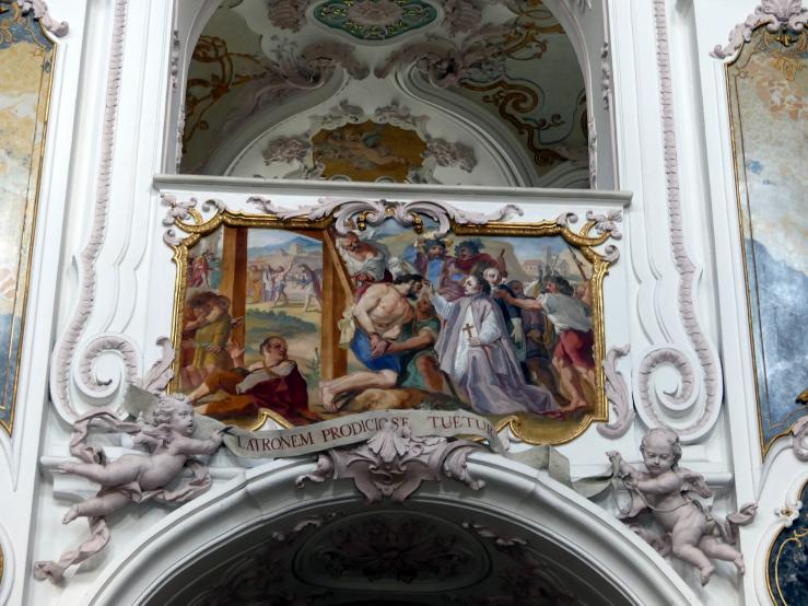Cosmas Damian Asam: Fresko Die Tugenden des Hl. Korbinian an der Westpartie des Mittelschiffgewölbes, 1723 - 1724