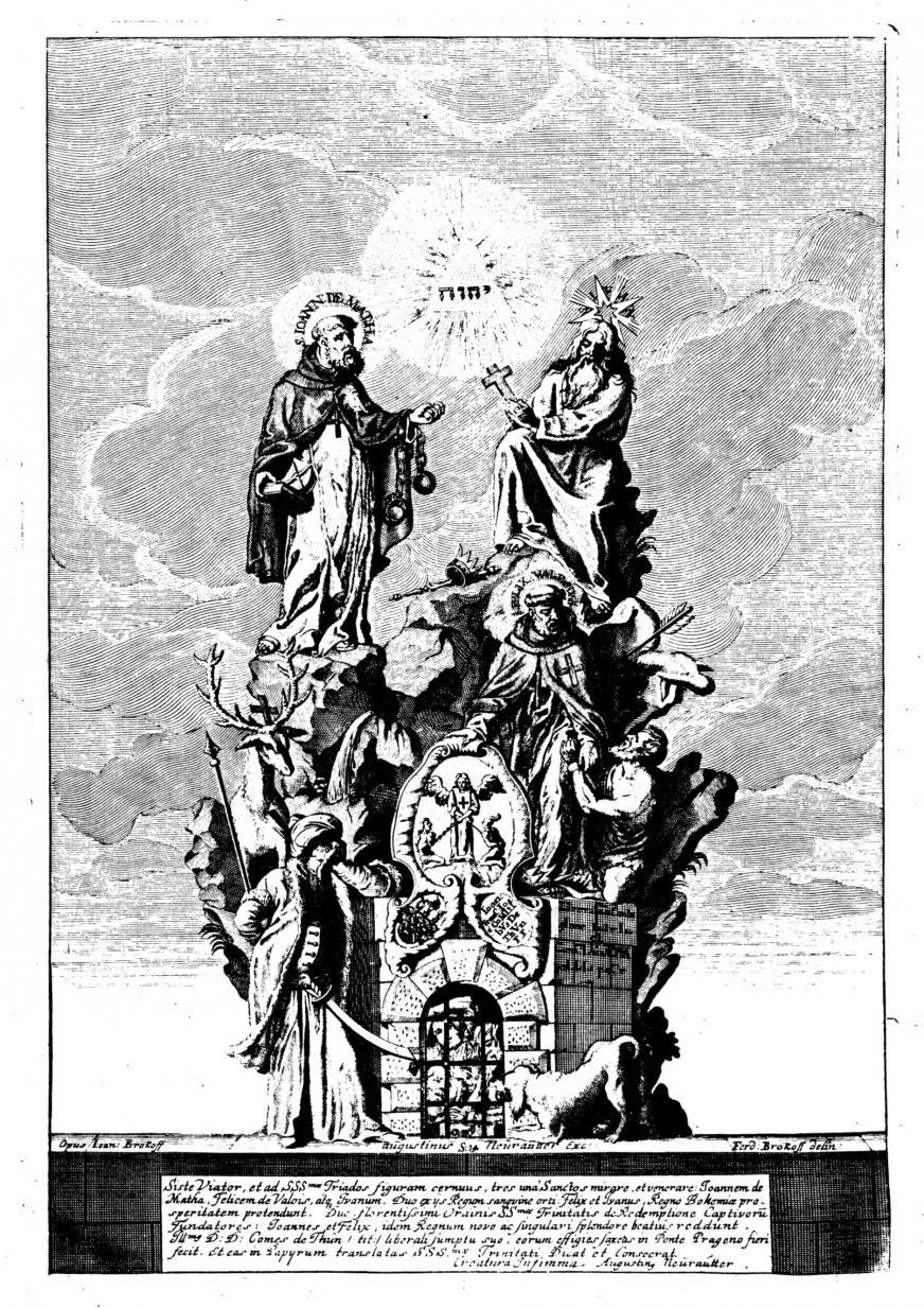 Ferdinand Maximilian Brokoff: Gruppe der Heiligen Johann v. Matha, Felix von Valois (beide Gründer des Trinitarierordens) und Iwan, 1714