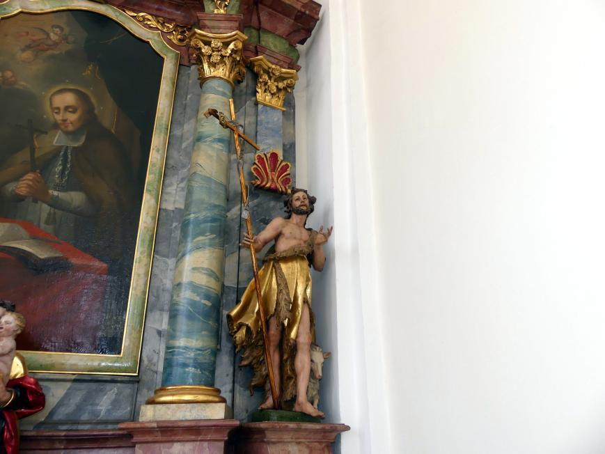 Johann Joseph Christian: Skulpturen hl. Johannes der Täufer, hl. Sebastian, hl. Johannes Evangelist, hl. Apollonia, hl. Vitus, Mater Dolorosa, 1745