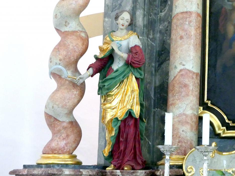 Christian Jorhan der Ältere: Überarbeitung der beiden Figuren Hl. Notburga und Hl. Apollonia am Hochaltar, Undatiert