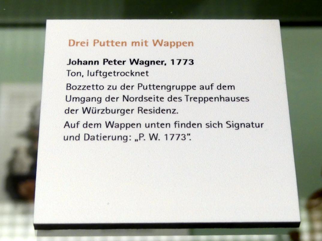 Johann Peter Wagner: Bozzetto zu der Puttengruppe auf dem Umgang der Nordseite des Treppenhauses der Würzburger Residenz, 1773, Bild 2/2