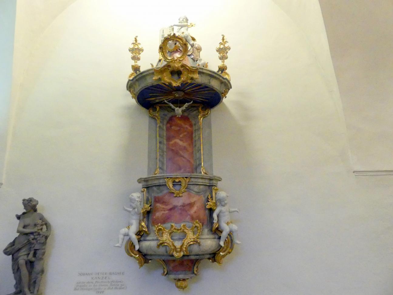 Johann Peter Wagner: Kanzel aus der fürstbischöflichen Kapelle der Saline bei Bad Kissingen, 1772