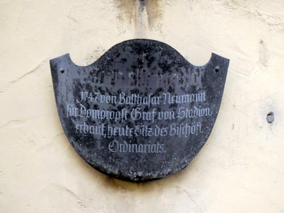 Balthasar Neumann: Bau des ehem. Domherrenhofs Marmelstein in Würzburg, 1747