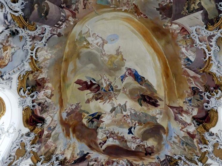 """Franz Joseph Spiegler: Gewölbeausmalung des Langhauses, Hauptfresko """"Verehrung Mariens durch den Hl. Benedikt und seinen Orden"""", 1751"""