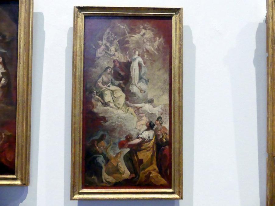"""Franz Joseph Spiegler: Ölskizze """"Verherrlichung der Immaculata mit ihren Eltern Anna und Joachim durch die vier Erteile"""", 1742"""