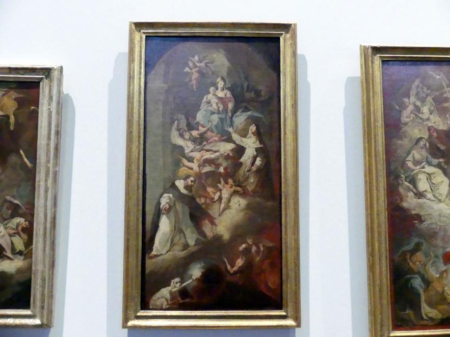 """Franz Joseph Spiegler: Ölskizze """"Die Madonna verleiht Rosenkränze an die Hll. Dominikus und Katharina"""", 1742"""