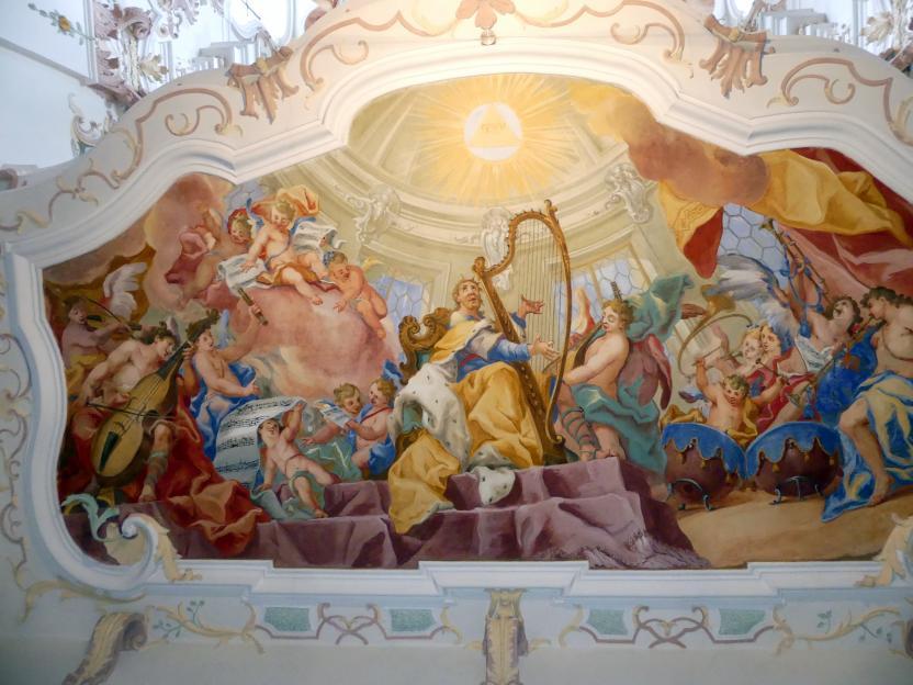 Otto Gebhard: Fresko unterhalb der Orgelempore 'Der musizierende König David', 1743 - 1744