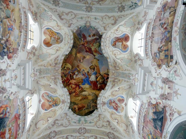Johann Gebhard: Fresko im 1. und 2. Joch von Westen 'Die Anbetung der Hirten', 1743 - 1744