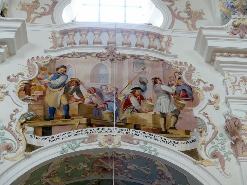 Otto Gebhard: Zwölf Fresken an den Obergadenwänden im Chor- und Langhaus, 1743 - 1744