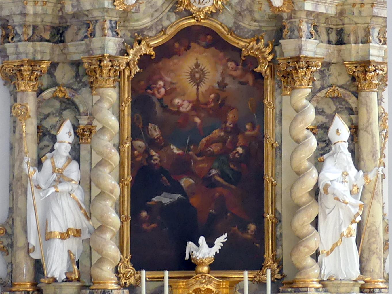 """Johann Gebhard: Haupt- und Auszugsgemälde des nördlichen Seitenaltars im Querhaus """"Die Verehrung der Hl. Eucharistie"""" und """"Gottvater"""" (Zuschreibung), 1730"""