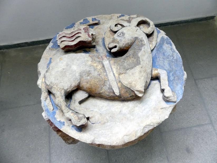 Gewölbe-Schlussstein mit Osterlamm, Symbol der Auferstehung Christi, um 1300