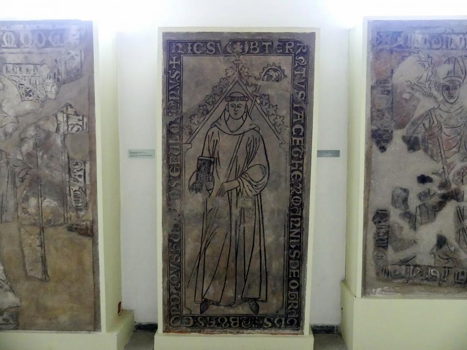 Grabmal von Abt Hermann (gestorben zwischen 1289 - 1313) vom Benediktinerkloster Johannes der Täufer in Ostrov bei Davle, Um 1300