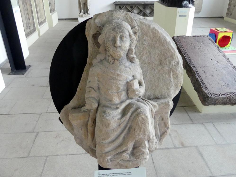 Abdeckplatte eines Schlusssteins mit Christus auf dem Richterthron, Letztes Drittel 13. Jhd.