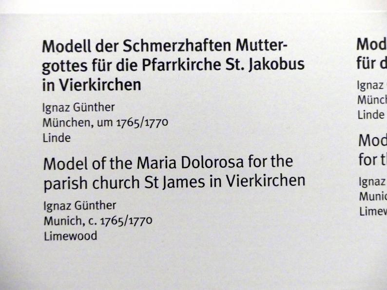 Ignaz Günther: Modell der Schmerzhaften Muttergottes für die Pfarrkirche St. Jakobus in Vierkirchen, Um 1765 - 1770