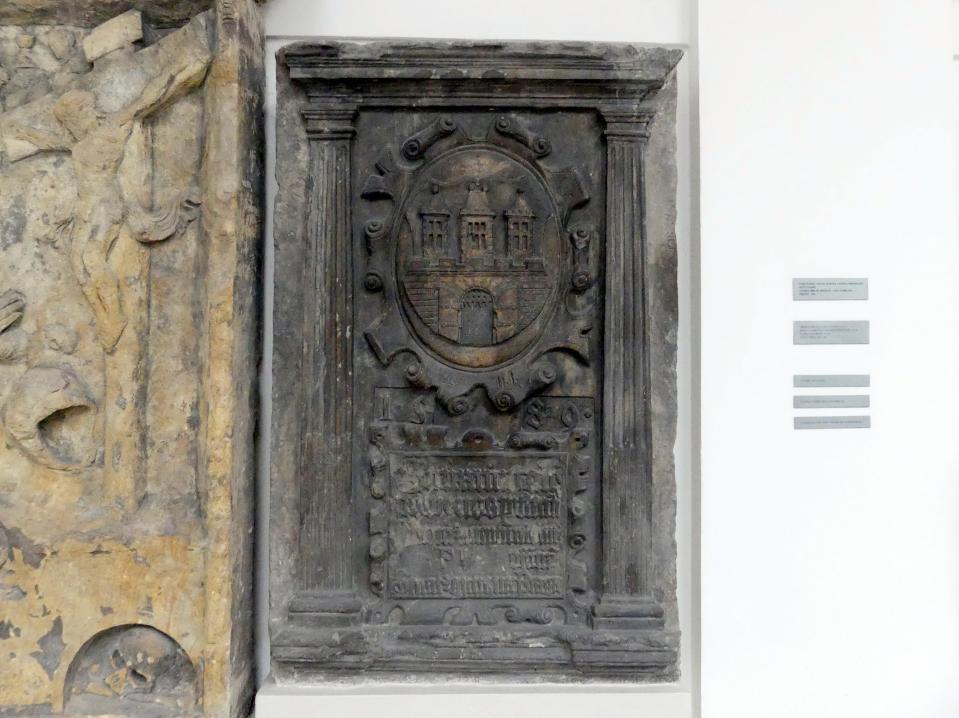 Gedenktafel für die Reparatur der Sova-Mühlen auf der Insel Kampa in Prag, 1589