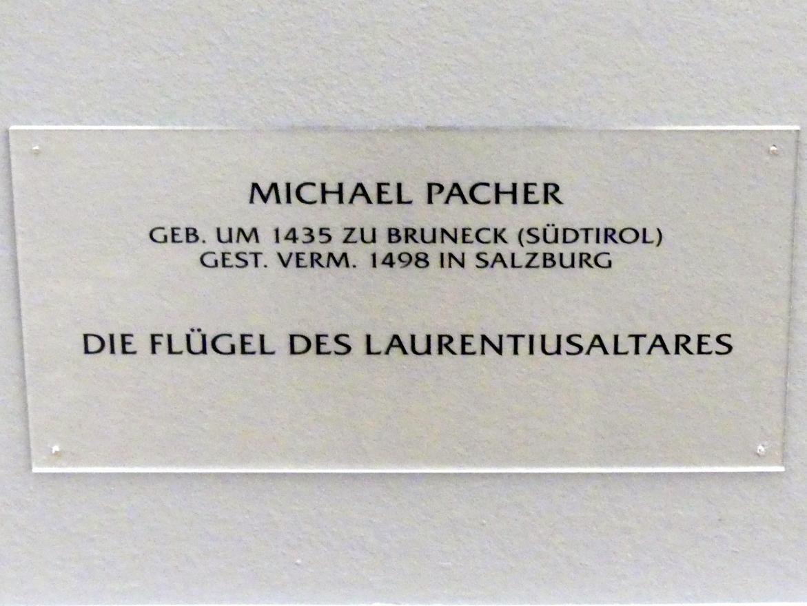 Michael Pacher: Außenseite des Schreinflügels des Hochaltars 'Verteilung des Kirchenschatzes durch den Hl. Laurentius', 1465