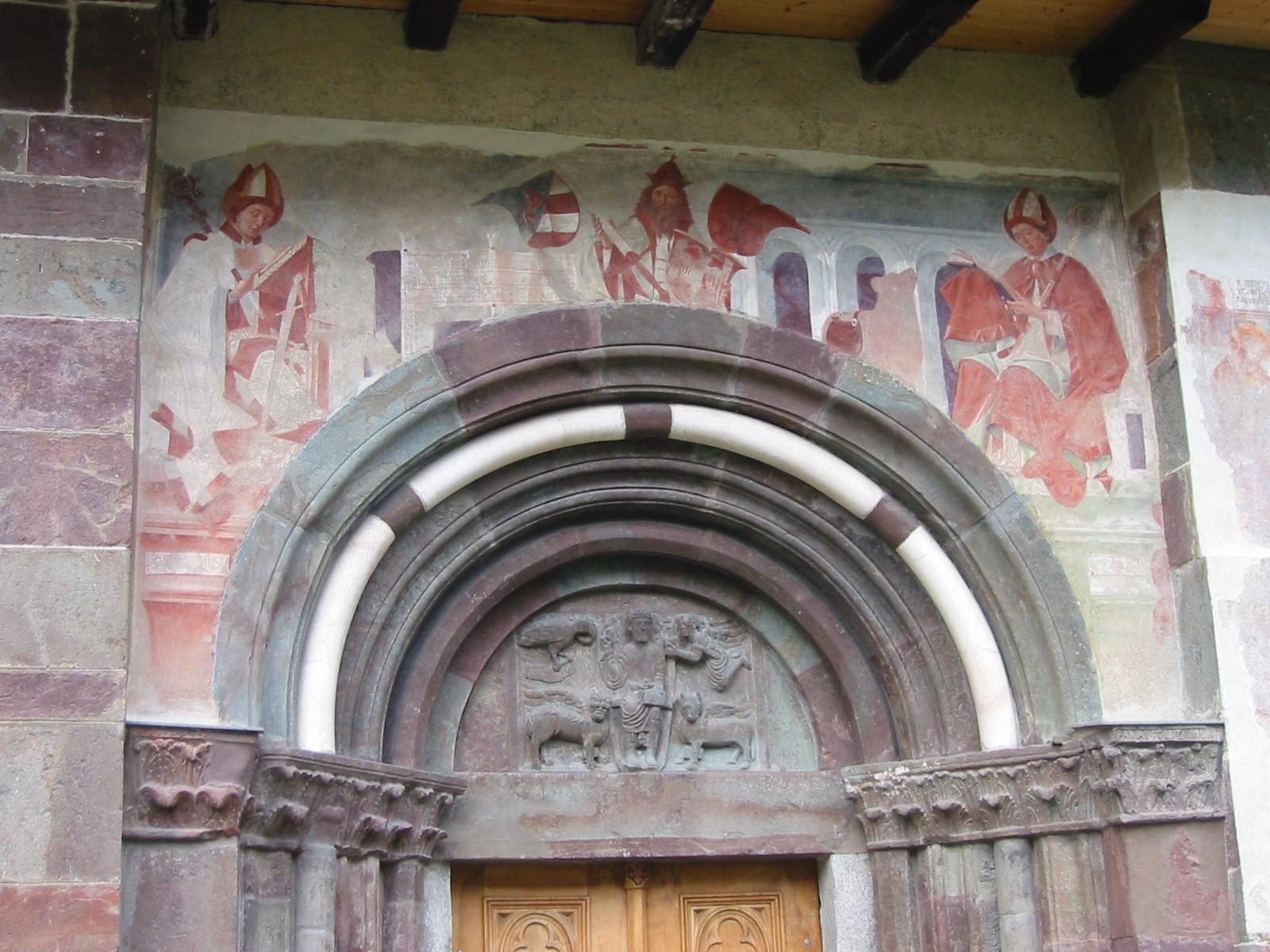Michael Pacher: Fresko Kaiser Otto I., flankiert von den Hl. Candidus und Korbinian, 1468 - 1469