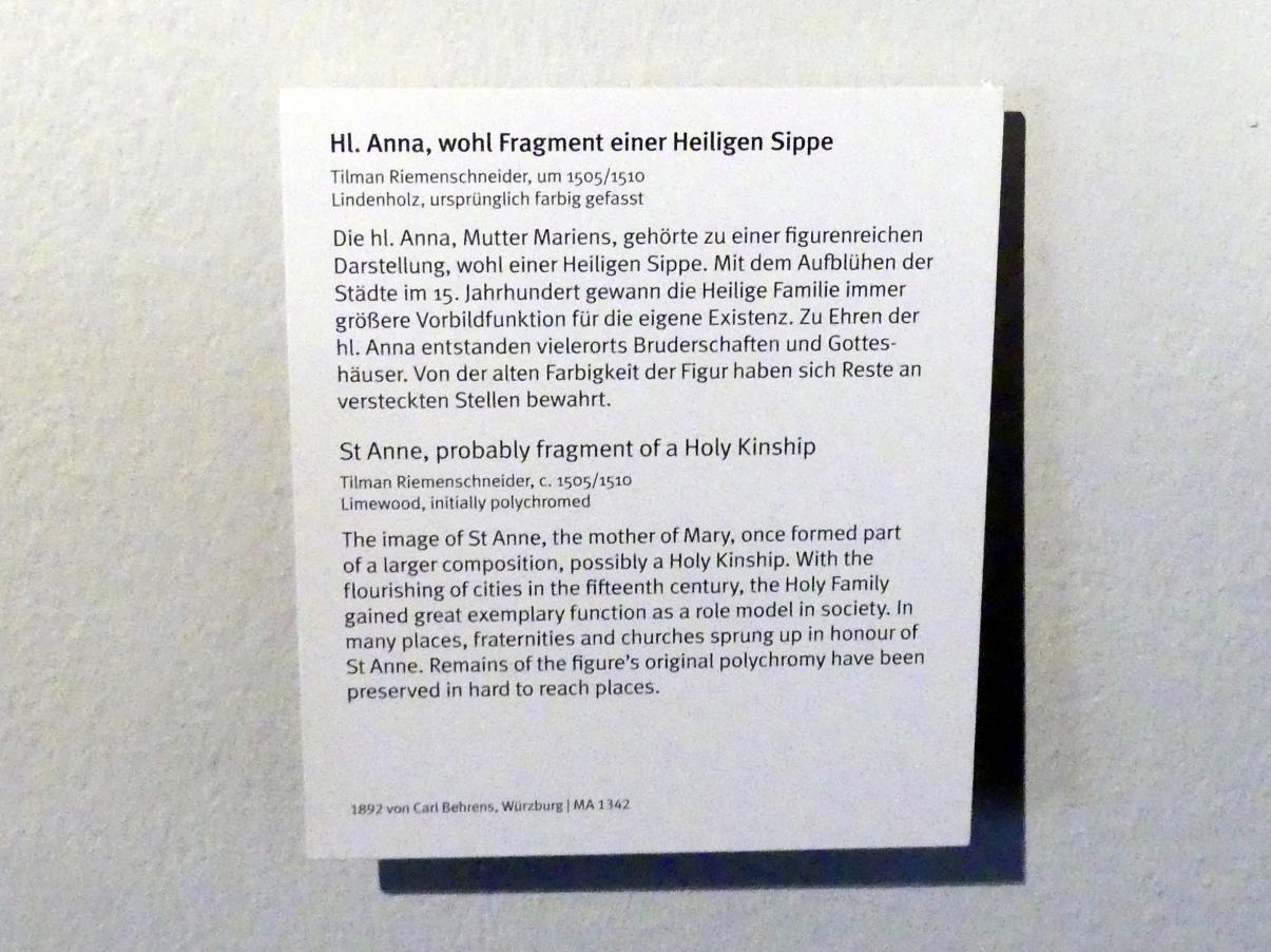 Tilman Riemenschneider: Hl. Anna, wohl Fragment einer Heiligen Sippe, um 1505 - 1510, Bild 3/3